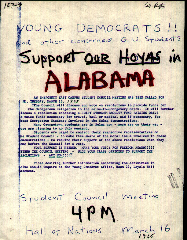 Flyer to support students protesting for civil rights in Alabama