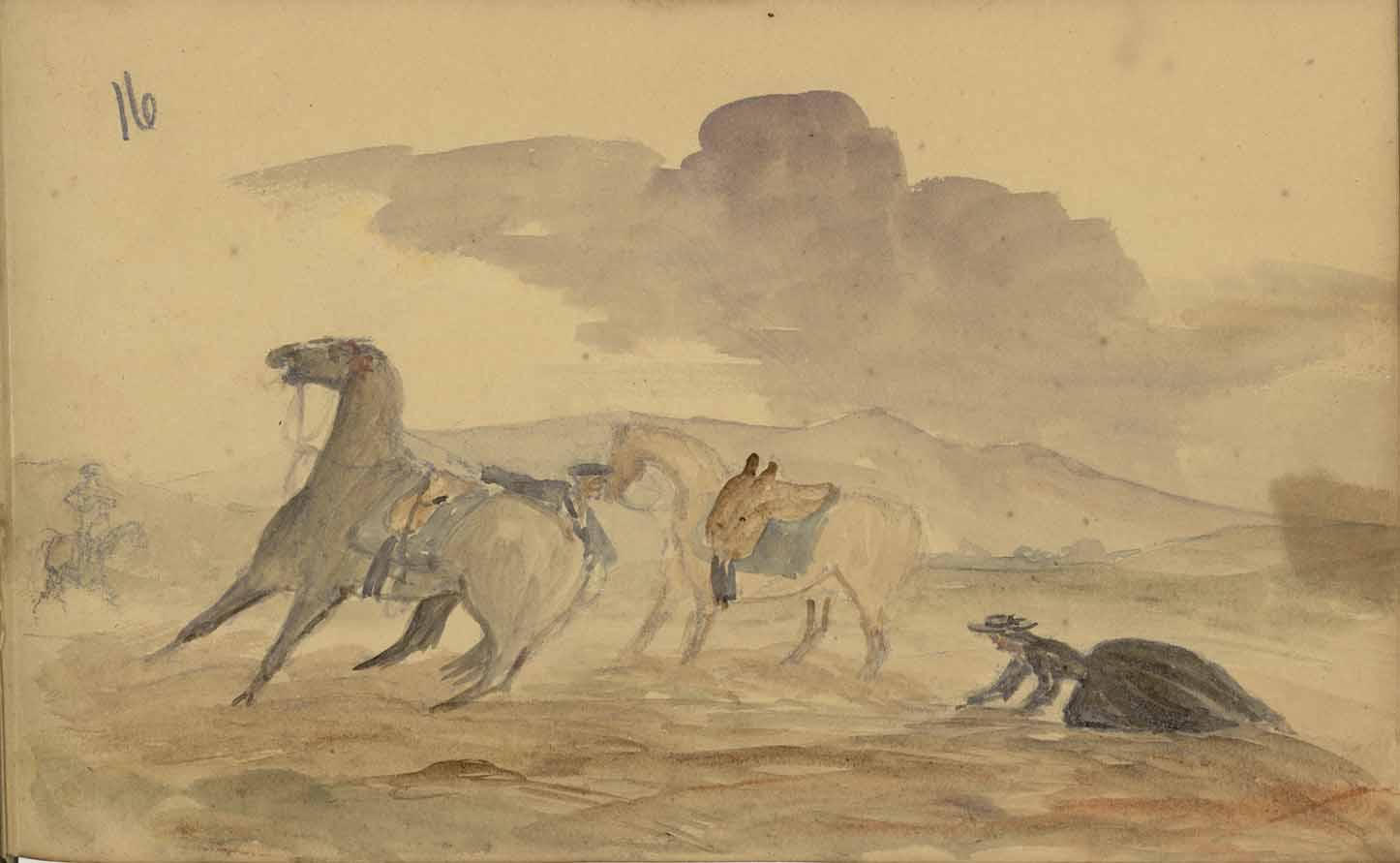 19th century woman's scrapbook watercolor