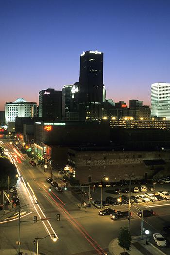 Skyline of Bricktown OKC at night, April 2003