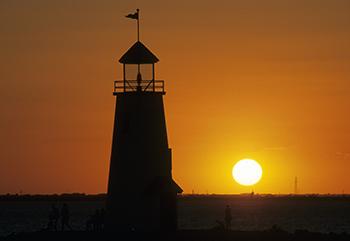 Lighthouse on Lake Hefner at sunset.