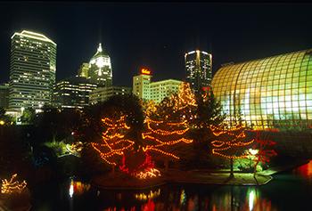 OKC Skyline over looking Myriad Gardens with Christmas Lights.