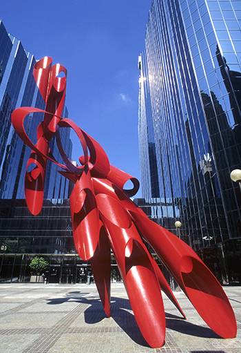Picture of sculpture Galaxy, created by Alexander Liberman.
