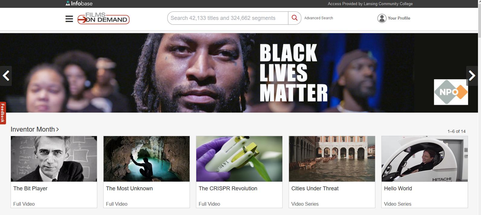 Banner for Films on Demand: Black Lives Matter