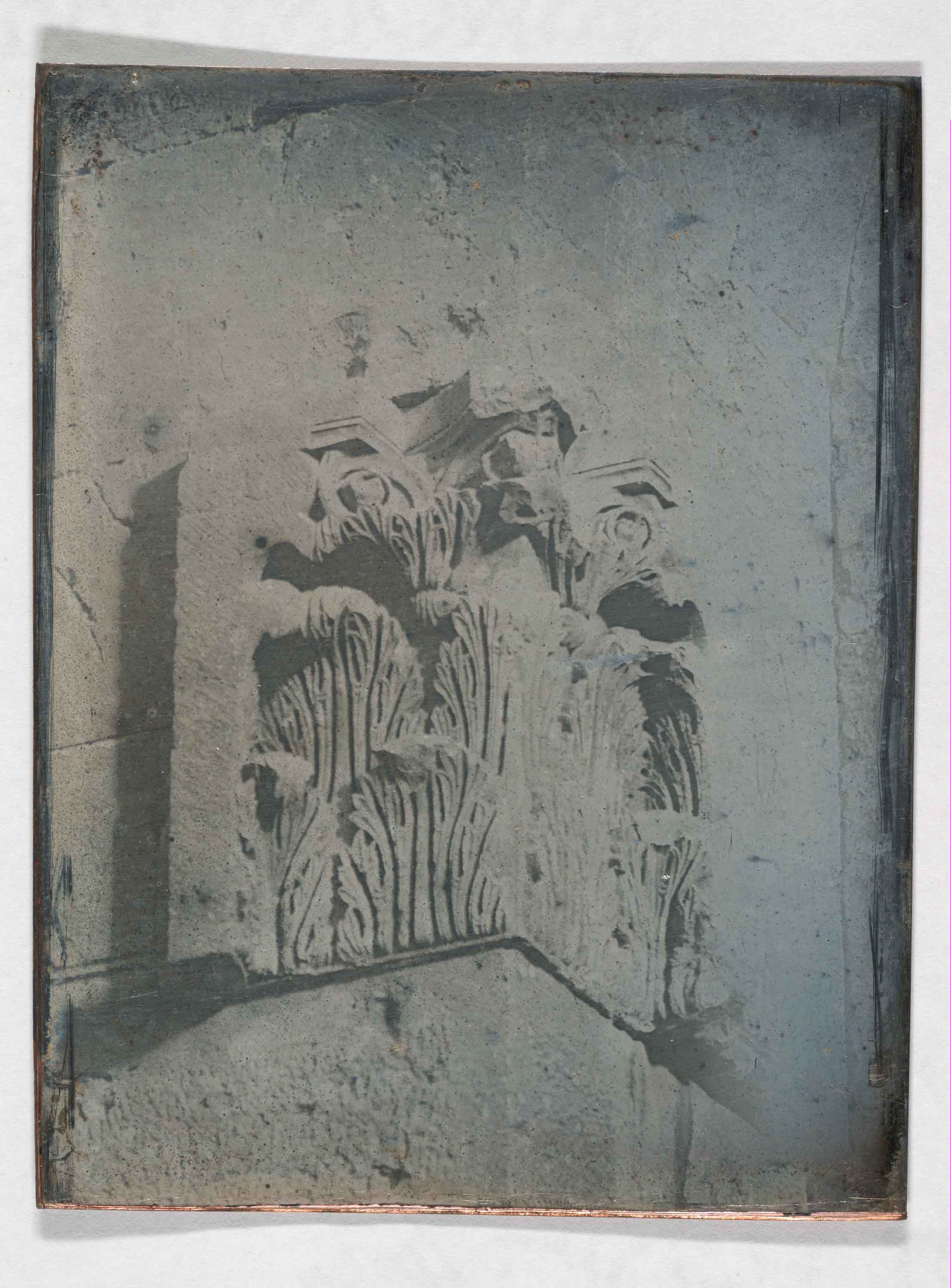 Daguerreotype photograph showing the carved elements of a capital