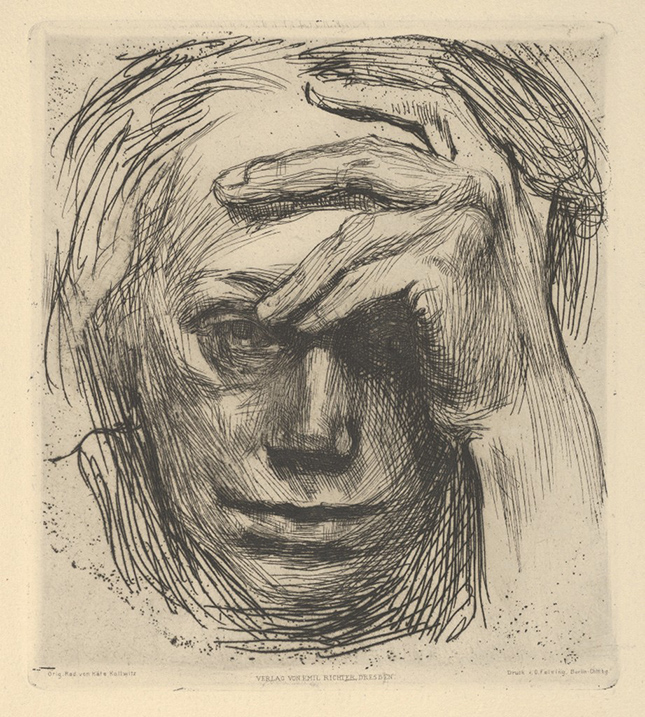 Portrait of a woman's face in black contour and cross hatched lines. The woman looks straight at the viewer. Her hand props up her head at the forehead.