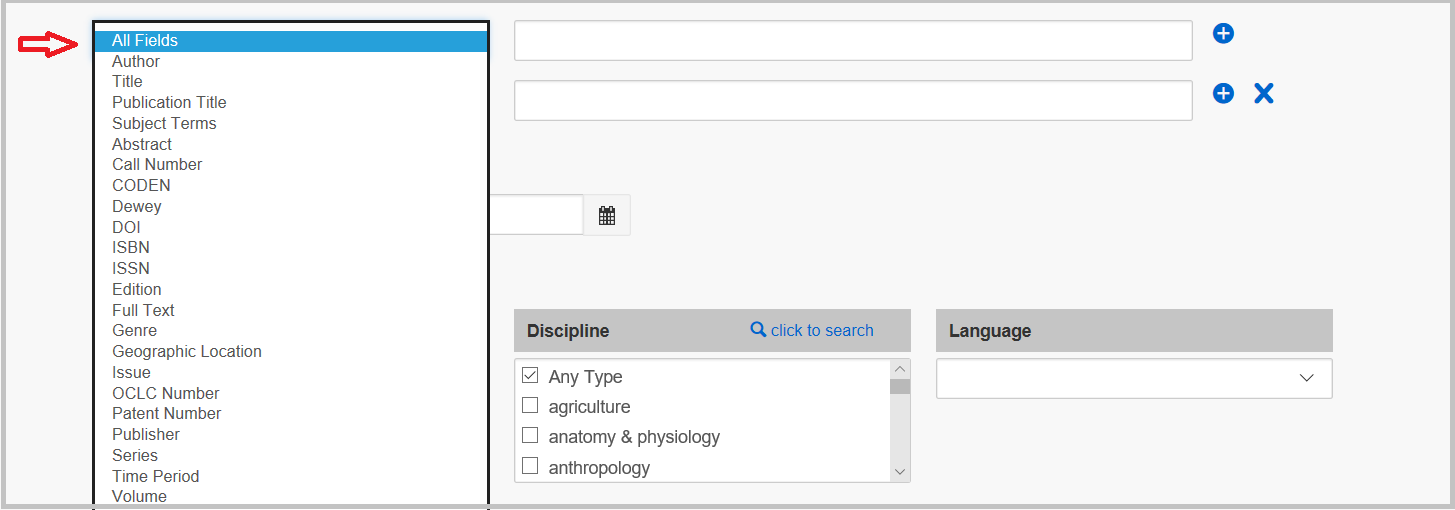 "alt=""one search tool advanced search screenshot displaying fields"""