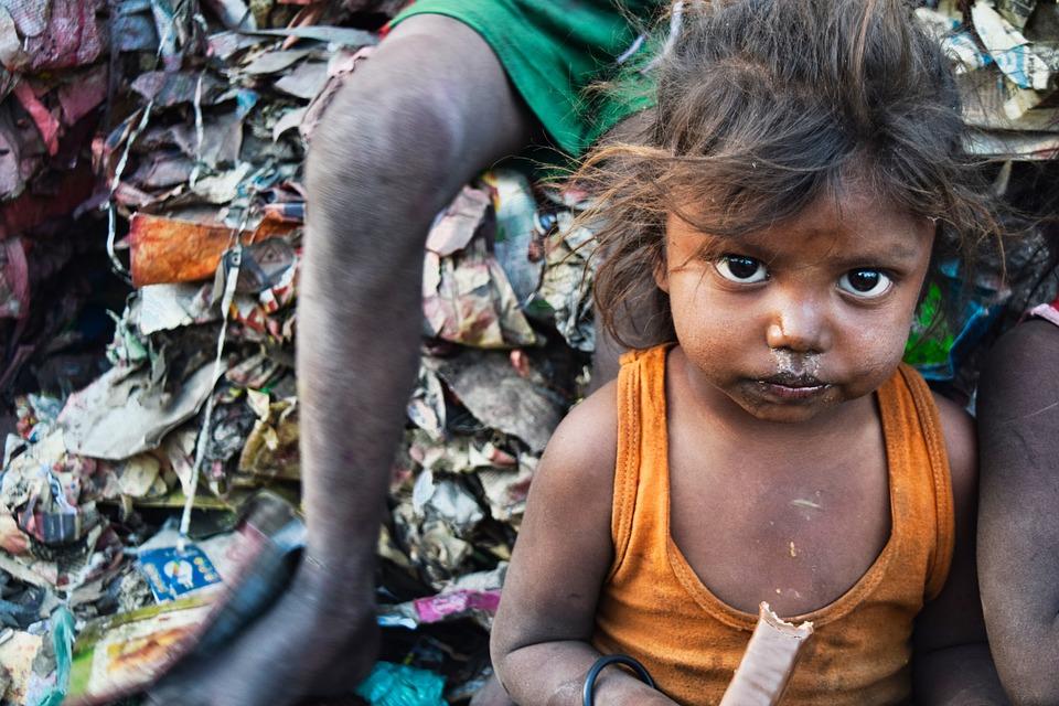 Poor child in India