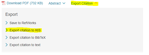 Science Direct Export Citation