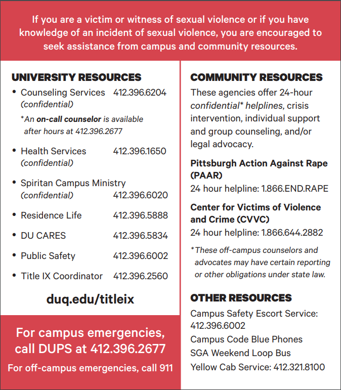 Duquesne Title IX Flyer