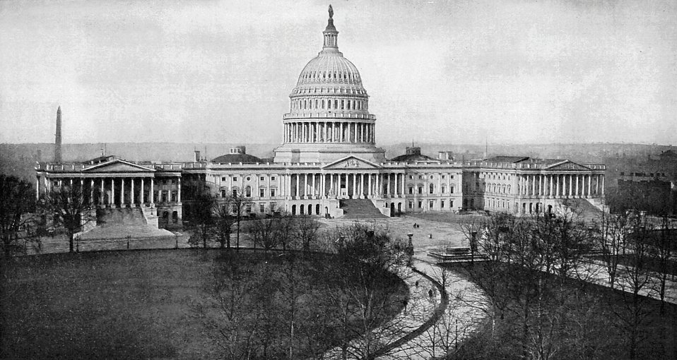 Vintage Photo of the United States Capitol Building in Washington, DC