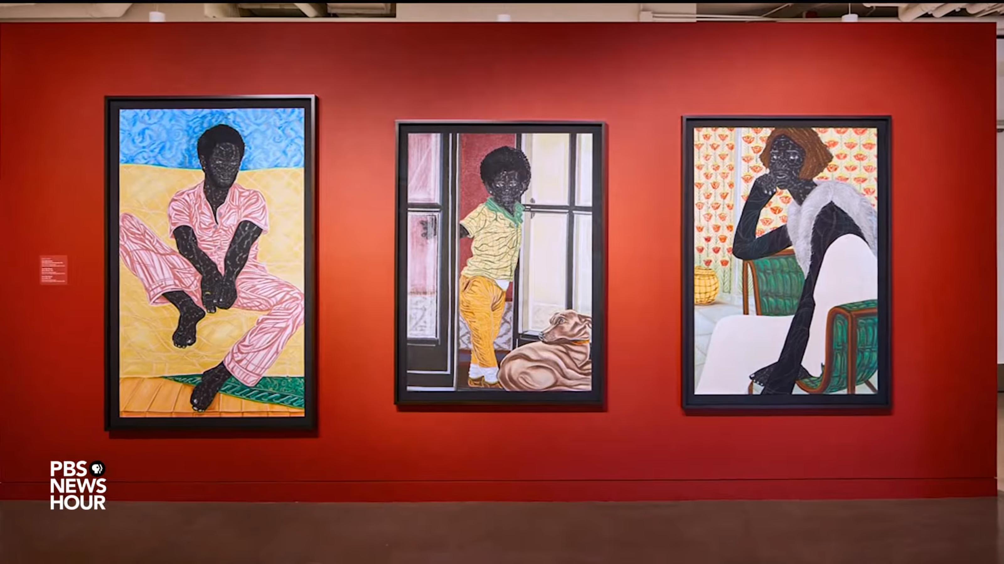 three paintings by Toyin Ojih Odutola