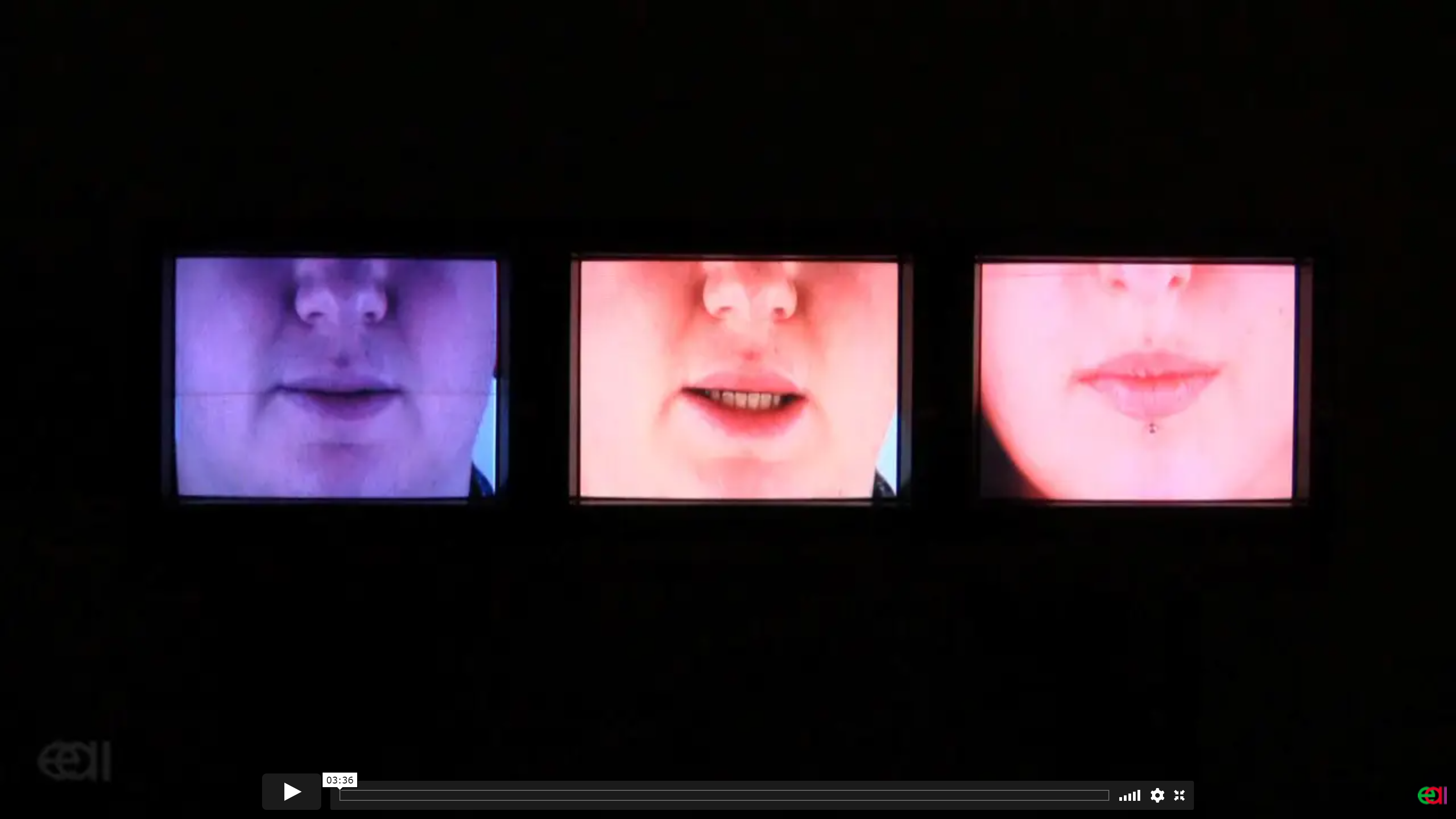 image of three mouths in sonda perry's video Counter