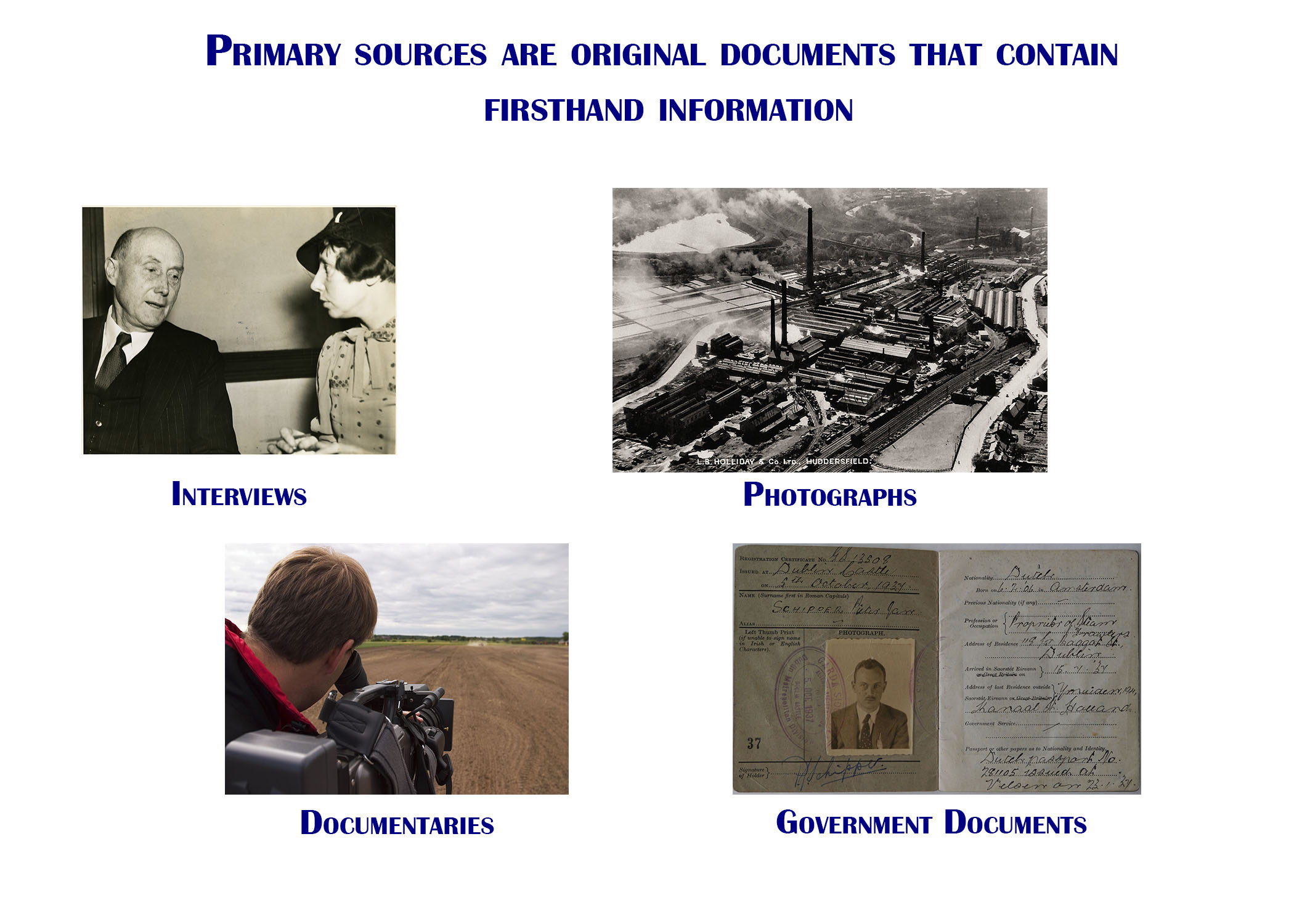 Primary sources are original documents that contain firsthand information