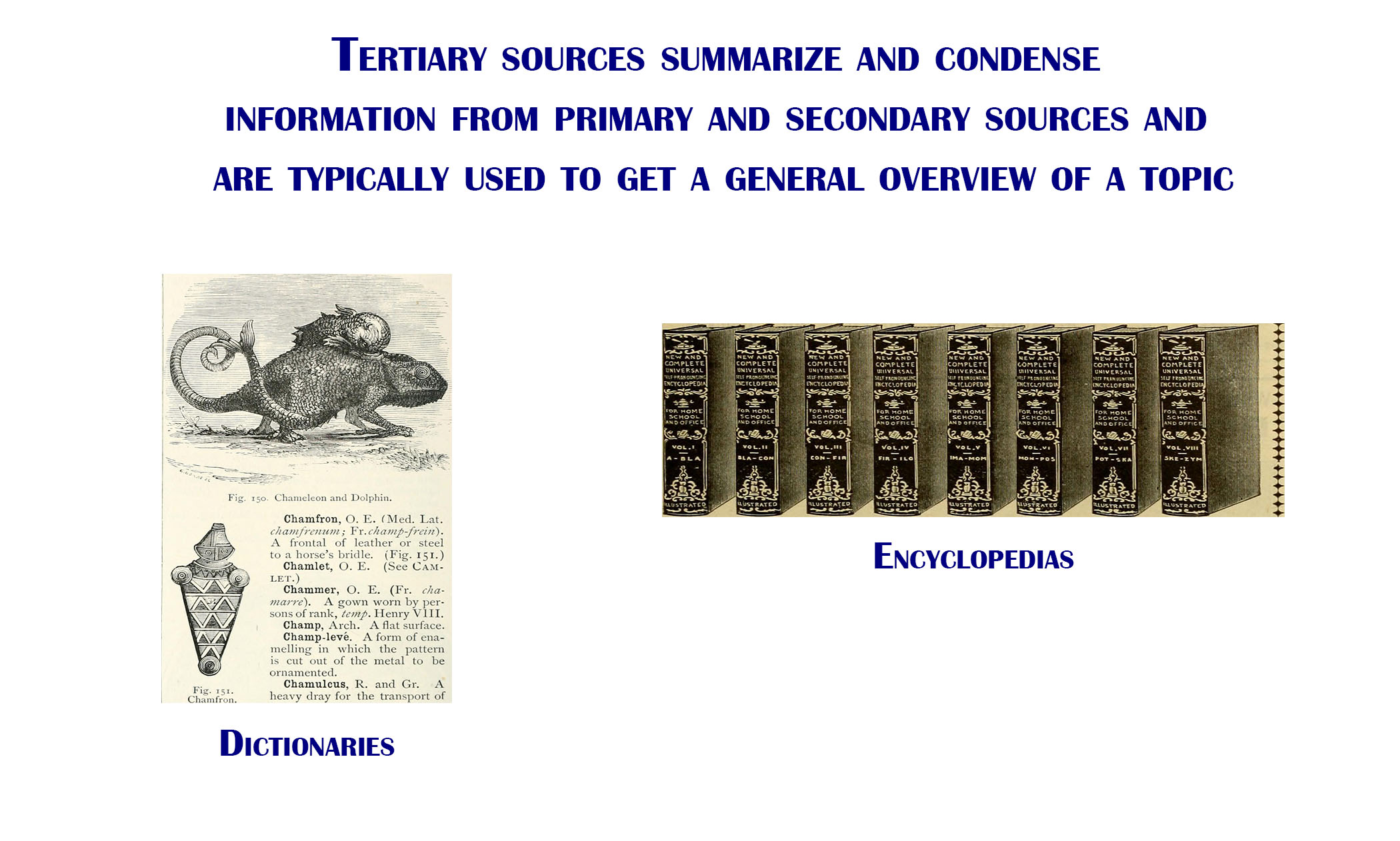 Tertiary sources are sources that summarize and condense information from primary and secondary sources, and are typically used to get a general overview of a topic