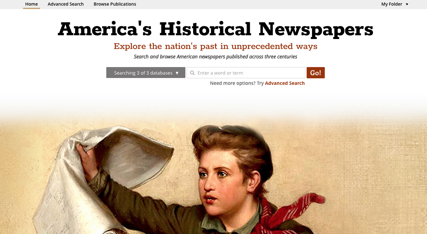 Front page of Early American Newspapers