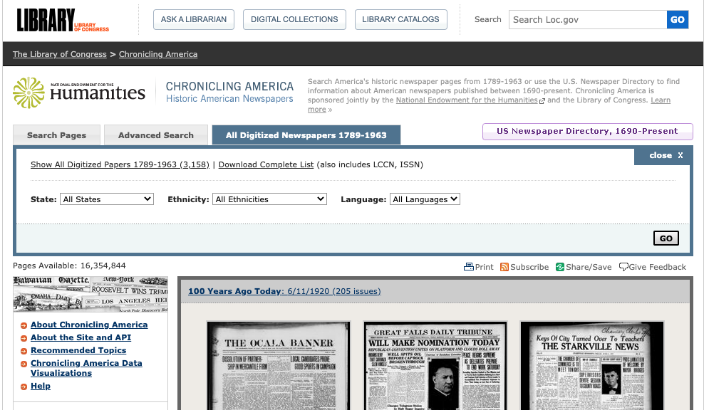 Home page of Library of Congress Chronicling America