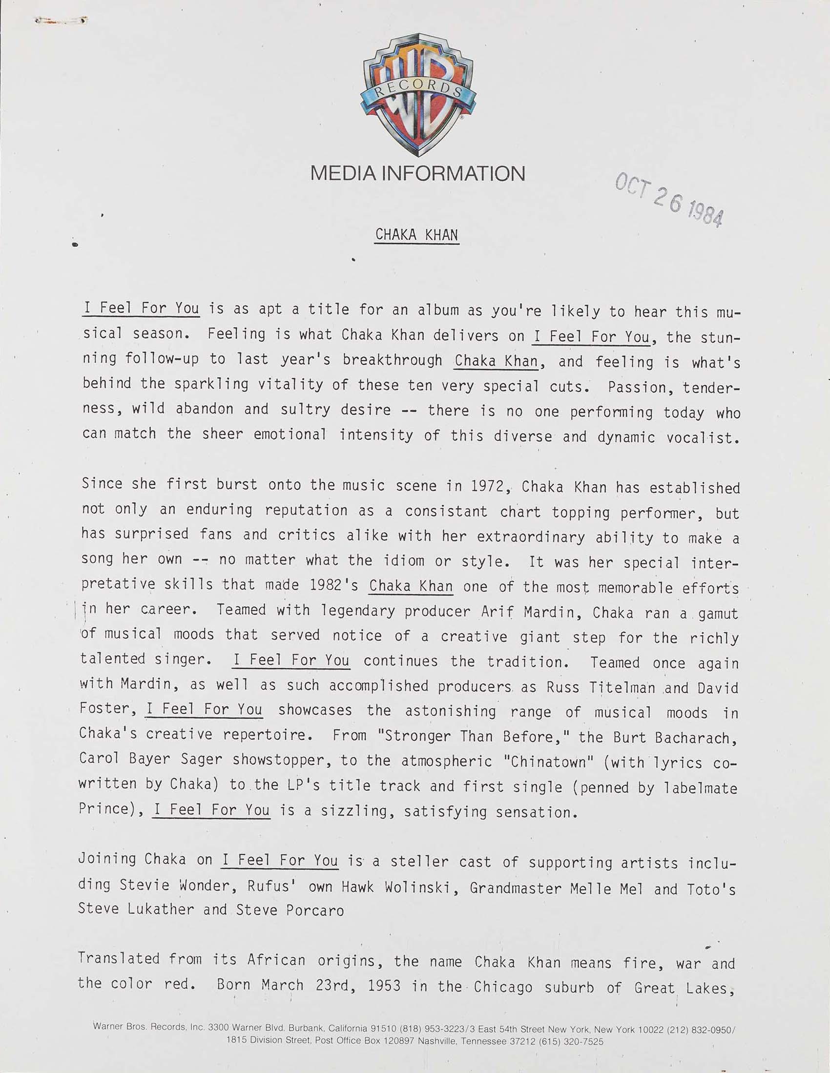 WB Records Chaka Khan press release
