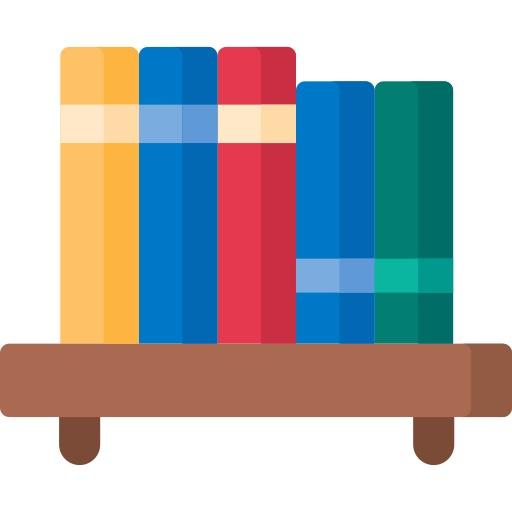 five books on a shelf