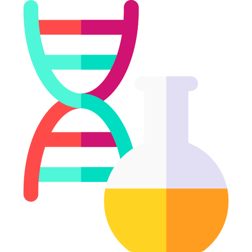 a flask and a strand of DNA