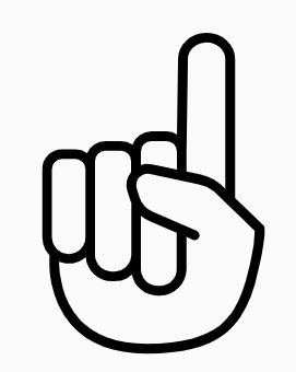 A hand with one finger raised.