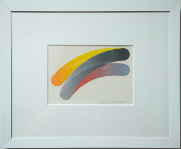 three curved, intersecting, diagonal lines with brights colors transitioning to grey
