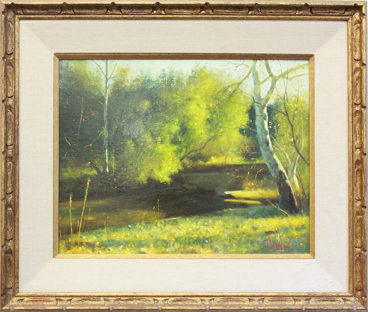 painting of a forest and creek