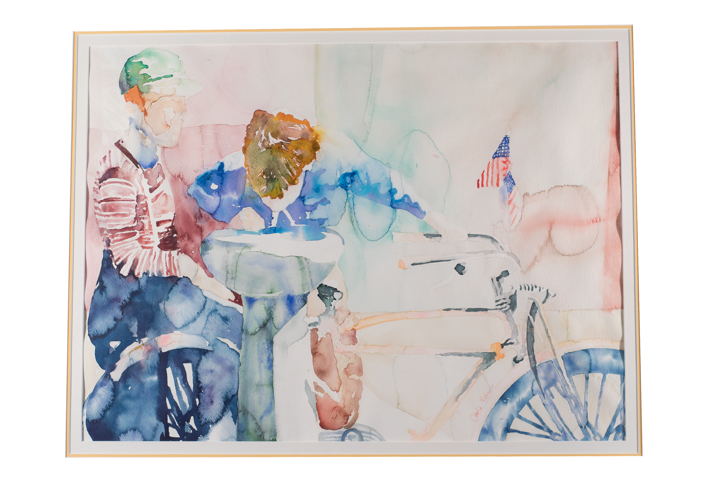 Watercolor of boys with bicycles and American flag