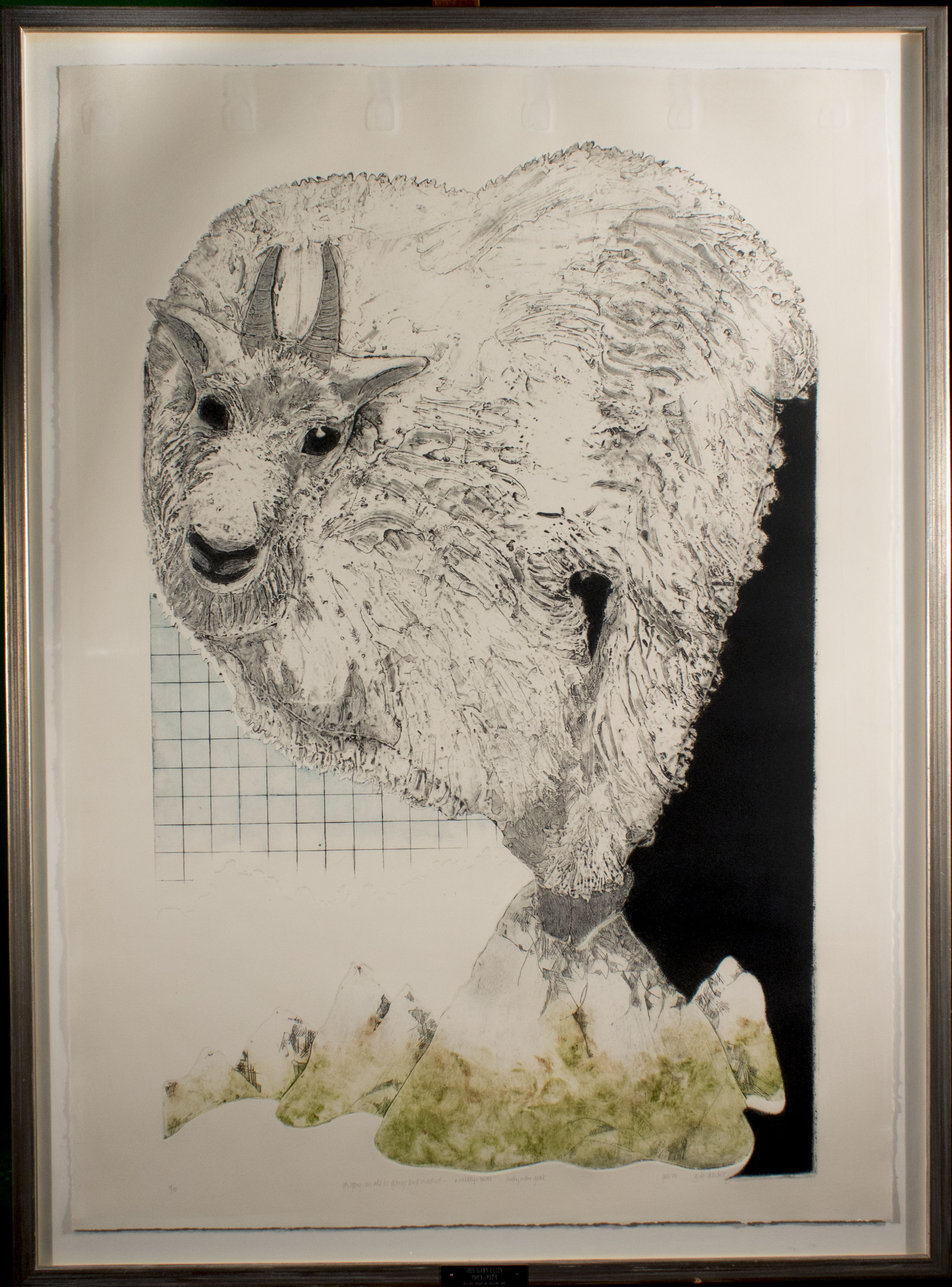 surreal collograph of a large mountain goat perched atop a small mountain