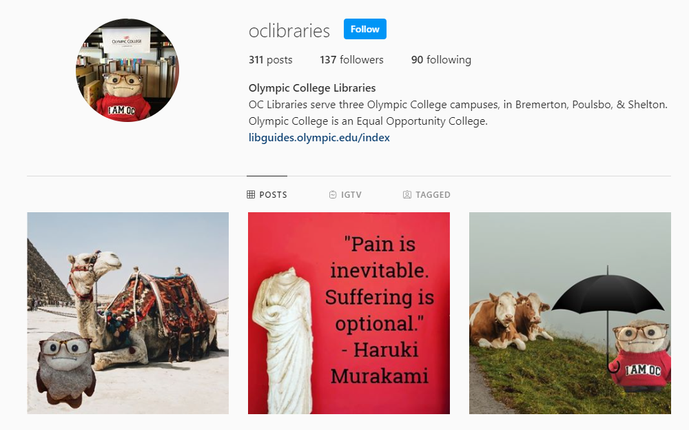 Olympic College Libraries Instagram page