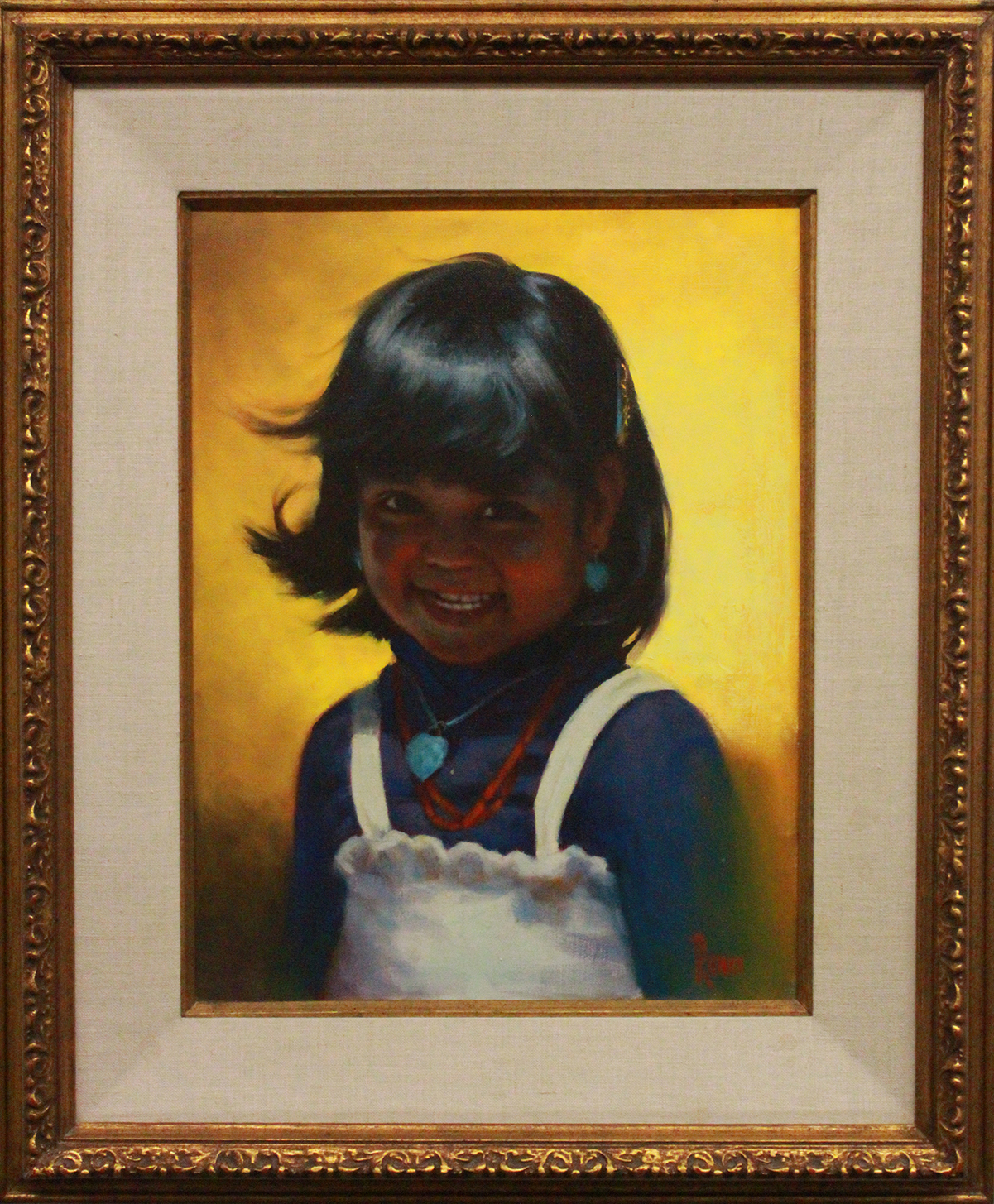 painted portrait of a young Native American girl