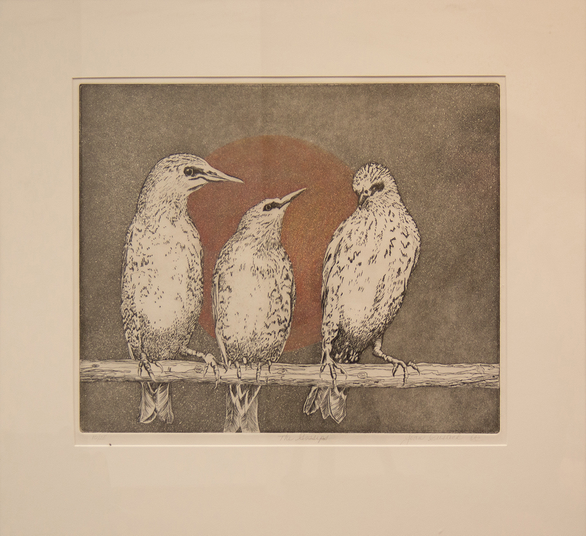 silk screen of three birds perched on a branch