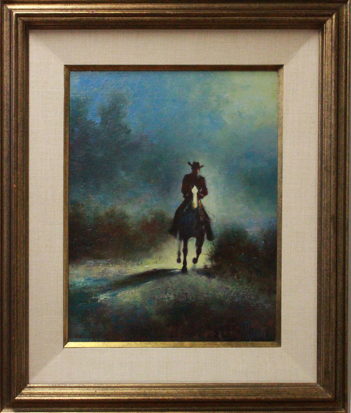painting of a silhouetted figure on horse back
