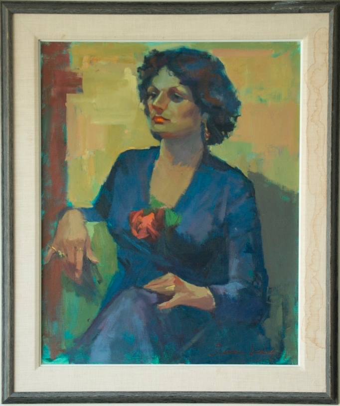 painting of a woman in a blue dress