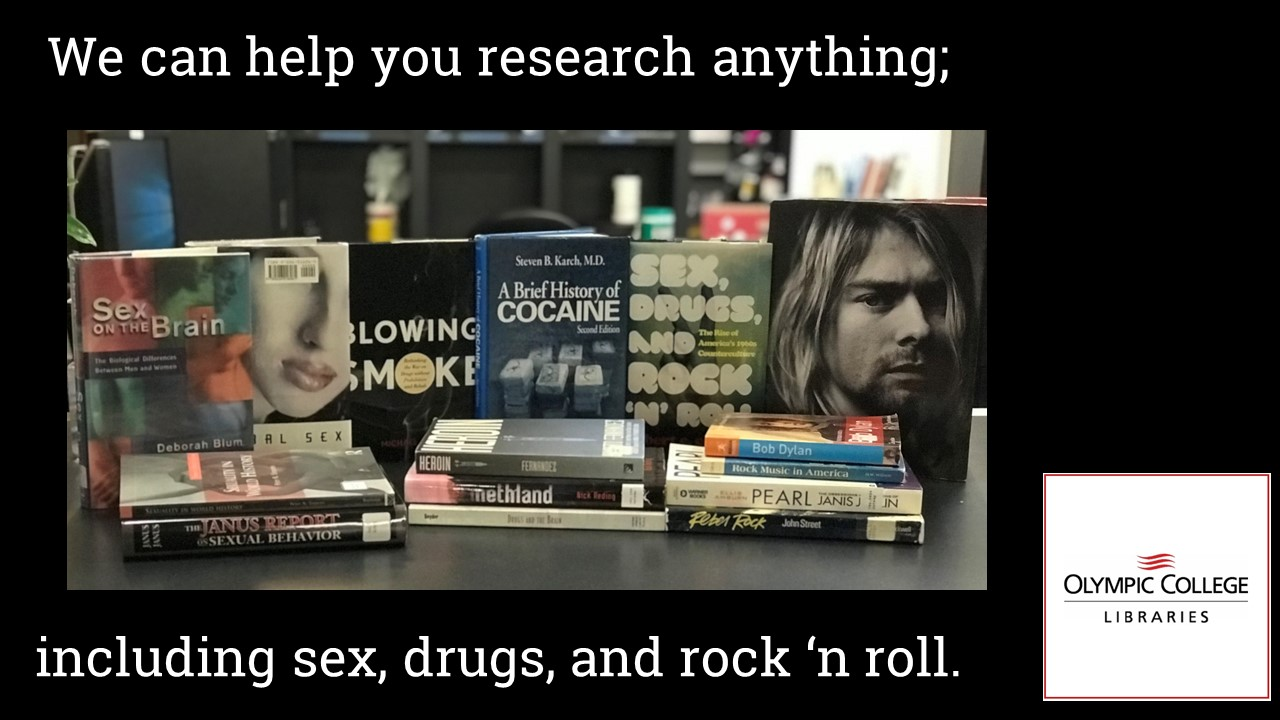 We can help you research anything, Books on counter