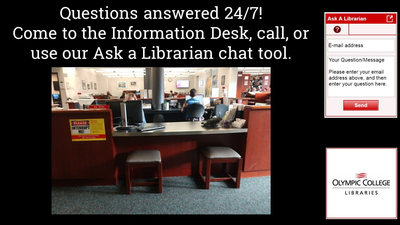 Ask a librarian, in the library, by phone, or via chat