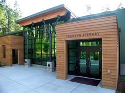 exterior of the Johnson Library on the OC Shelton campus