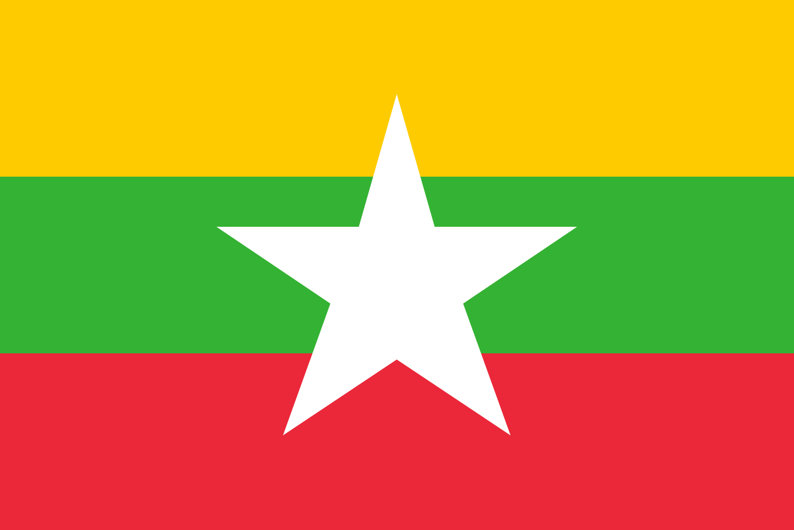 Myanmar flag with horizontal stripes of yellow, green, and red (top to bottom) and a white star in the center