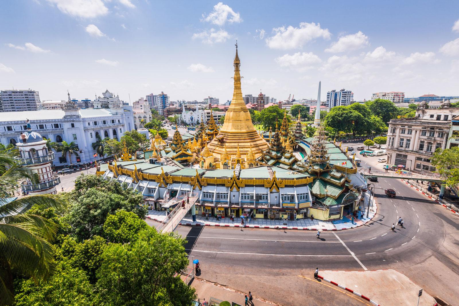 Sule pagoda, in the center of Yangon, Myanmar