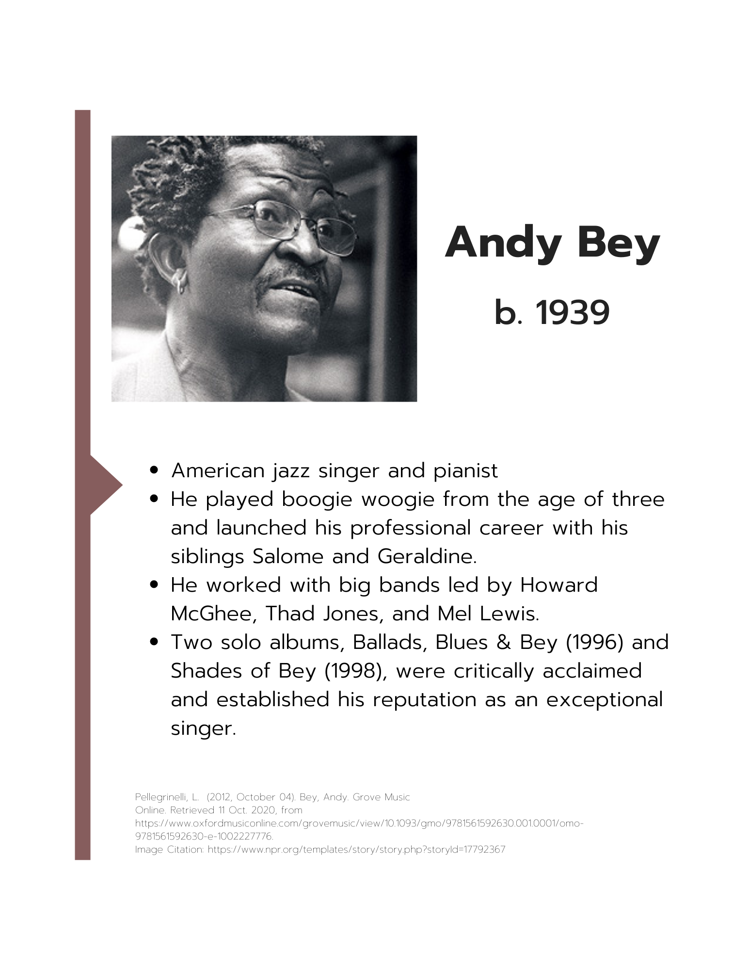 Andy Bey information sheet art