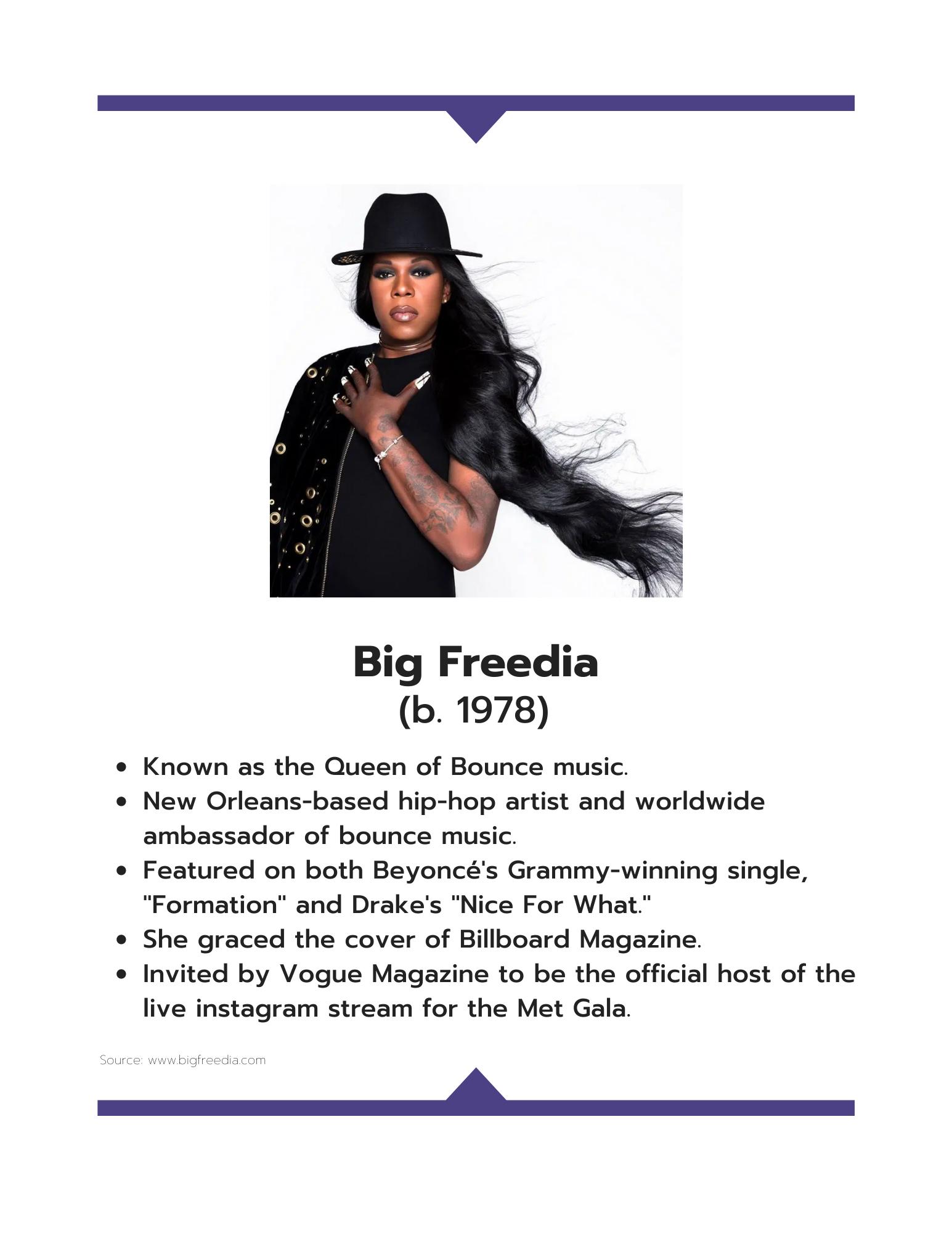Big Freedia information sheet art
