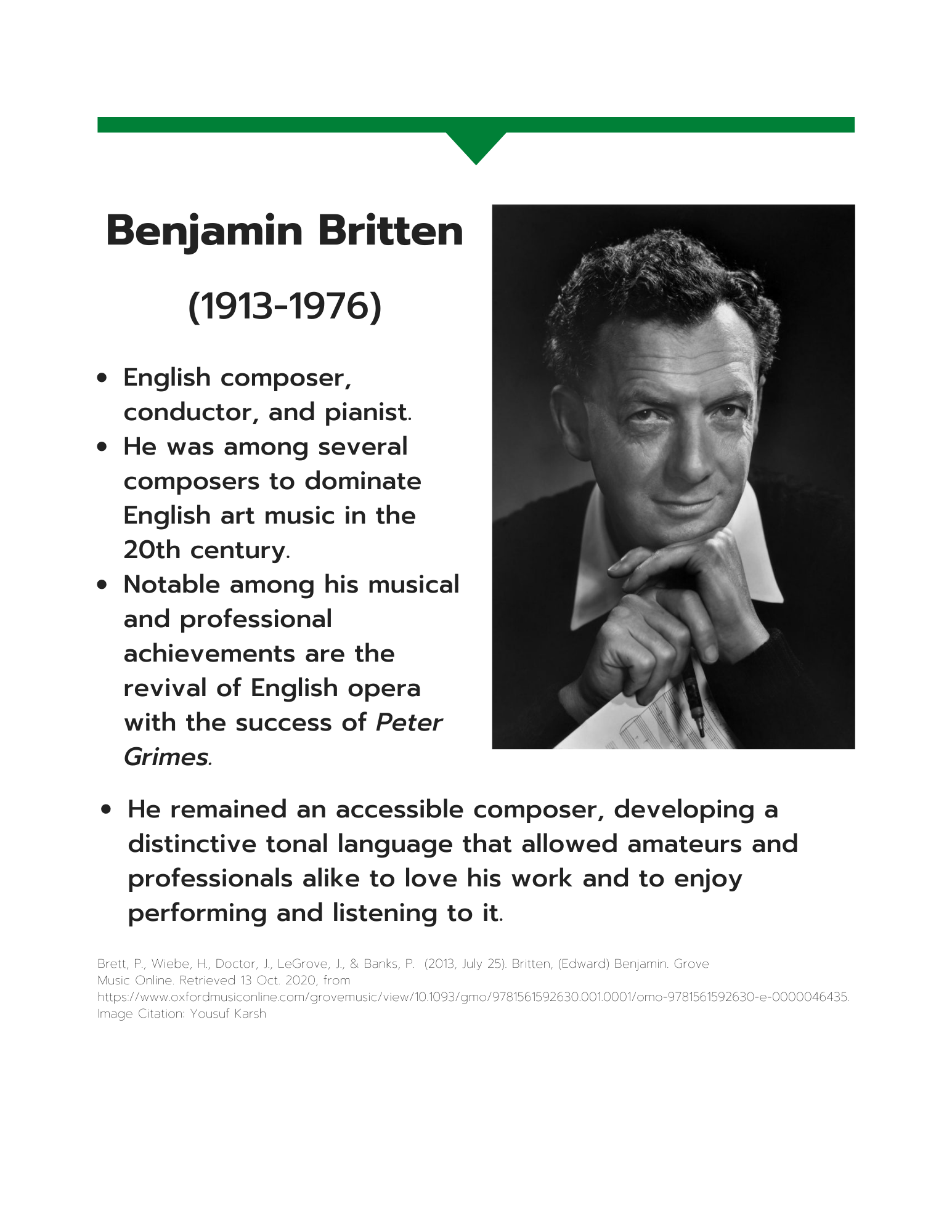 Benjamin Britten information sheet art