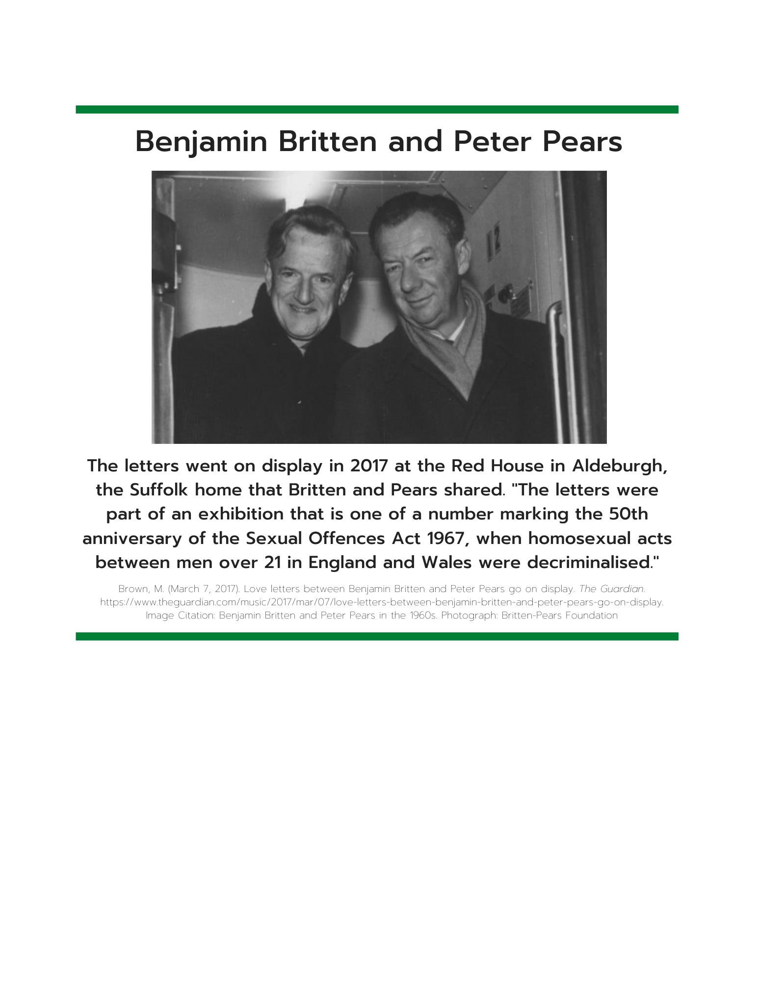 Benjamin Britten and Peter Peers information sheet art