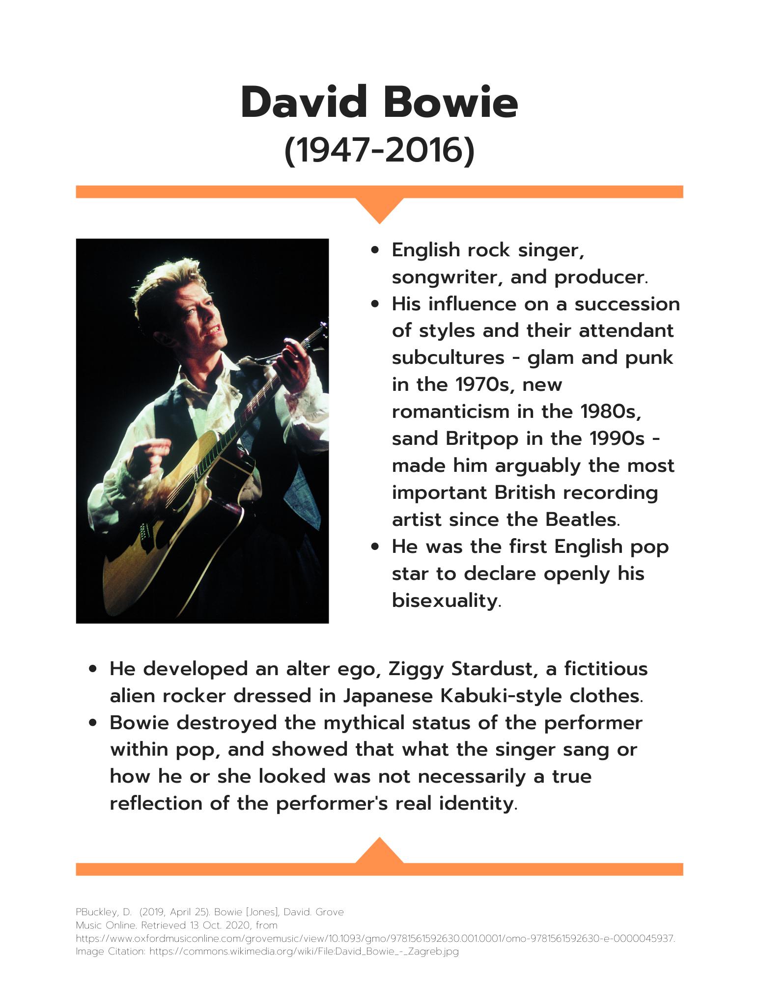 David Bowie information sheet art