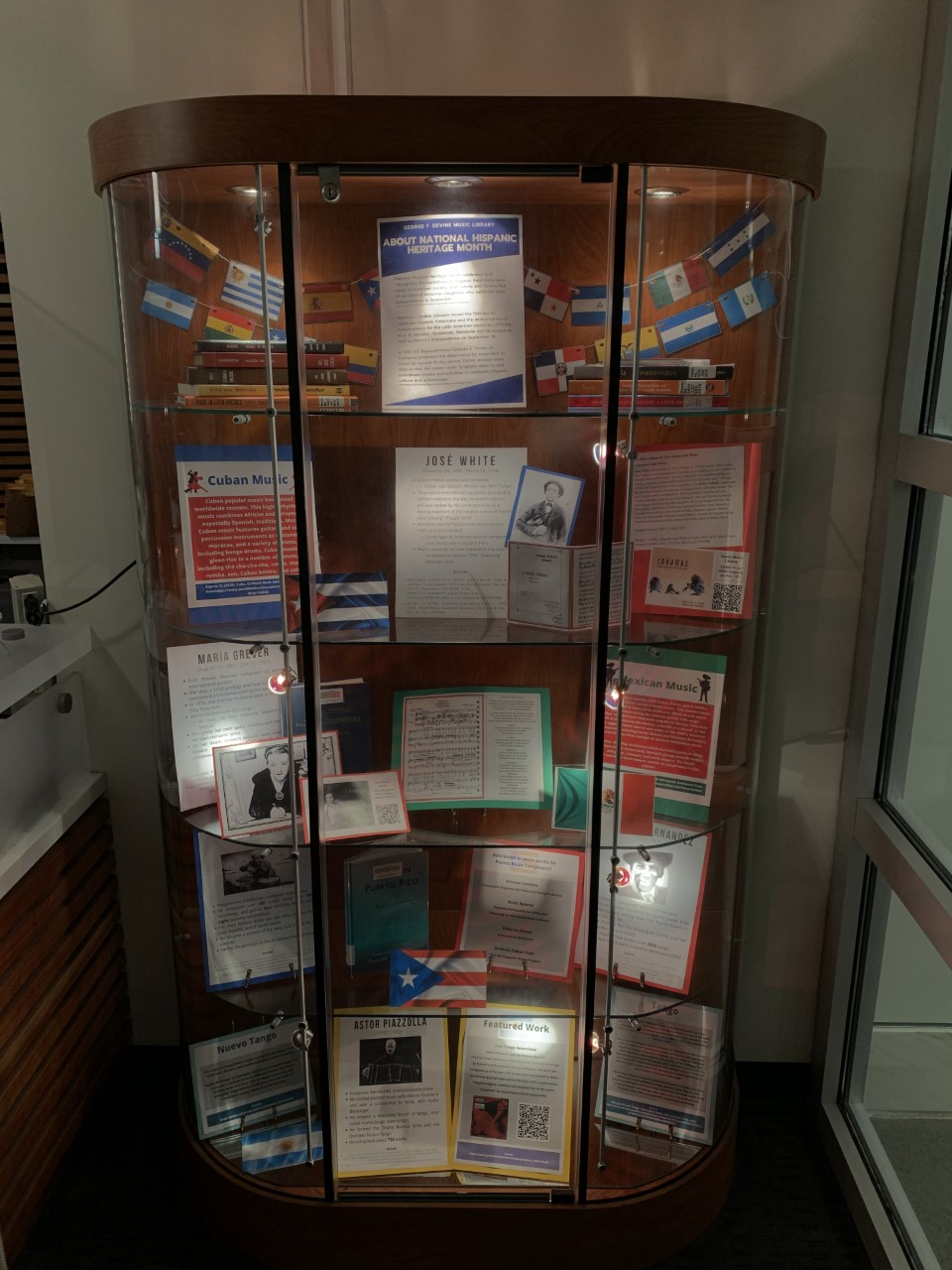 DeVine Display Case featuring Hispanic heritage month materials