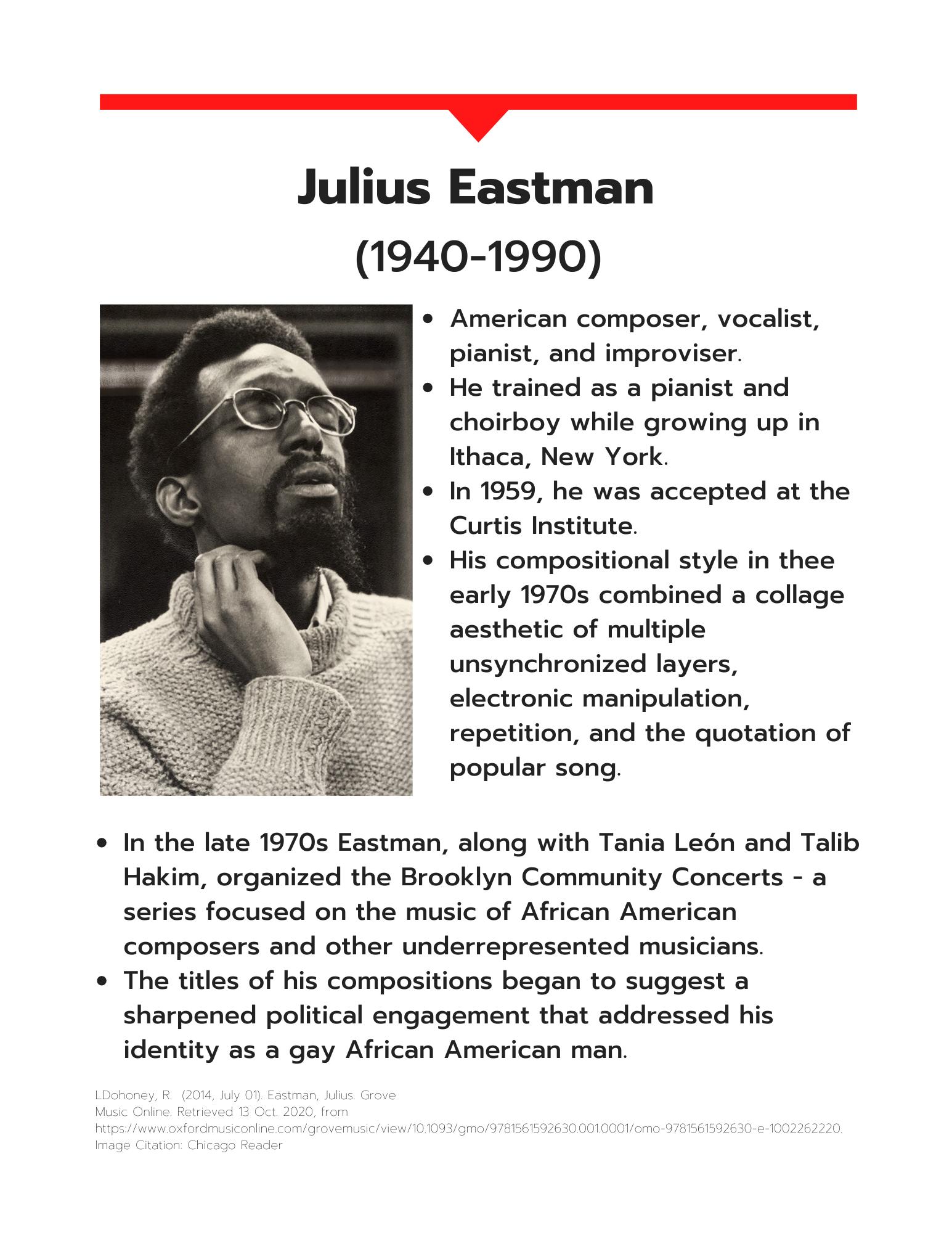 Julius Eastman information sheet art
