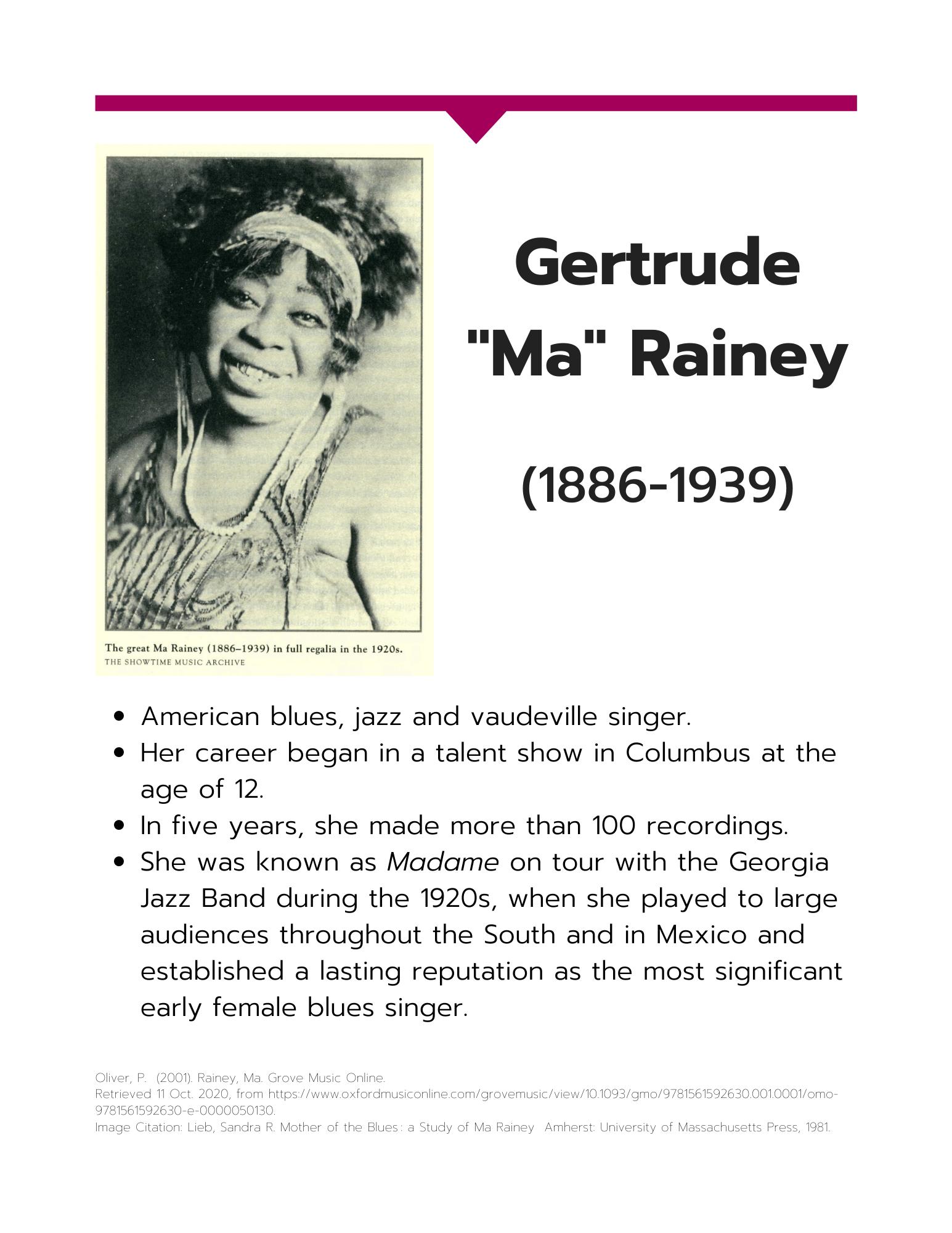 Gertude Ma Rainey information sheet art