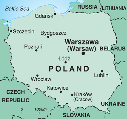 a map of the country Poland with the locations of cities cited such as the capital, Warsaw