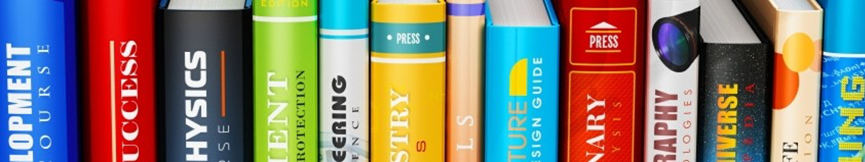 Decorative image of textbooks lined up on a shelf with the titles of subjects listed on the book spines.