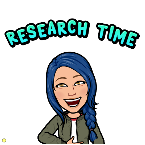 """Cartoon image of Professor Walker with the words """"Research Time"""" positioned above her head."""