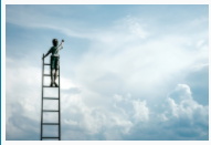 Image of a young person on a ladder leading to the clouds.
